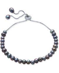 Macy's - Gray Cultured Freshwater Pearl (4mm) Bolo Bracelet In Sterling Silver - Lyst