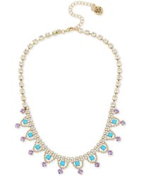 Betsey Johnson - Gold And Turquoise Frontal Necklace - Lyst