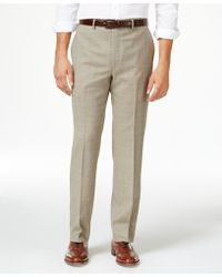 Lauren by Ralph Lauren - Men's Wool Windowpane Flat Front Classic-fit Dress Pants - Lyst