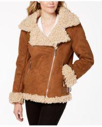 Michael Kors - Michael Faux-fur-lined Moto Coat - Lyst