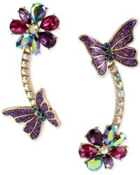 Betsey Johnson - Gold-tone Multi-stone Flower & Butterfly Mismatch Linear Drop Earrings - Lyst