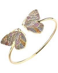 Noir Jewelry Multi-colored Stone Butterfly Cuff - Metallic