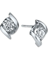 Sirena - Diamond Twist Stud Earrings (1/2 Ct. T.w.) In 14k White Gold - Lyst