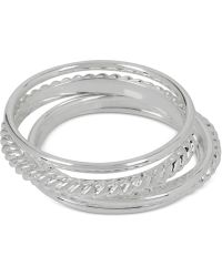 Touch Of Silver - Set Of Five Stacking Rings In Silver-plated Metal - Lyst