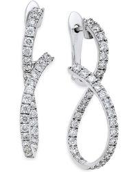 Macy's | Diamond Infinity Drop Earrings (1-1/3 Ct. T.w.) In 14k White Gold | Lyst