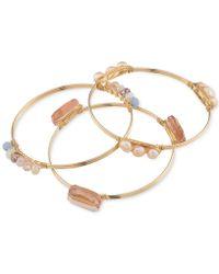 Carolee - Set Of 3 Gold-tone Imitation Pearl And Multi-color Bead Bangle Bracelets - Lyst