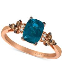 Le Vian - ® Deep Sea Blue Topaz (1-1/2 Ct. T.w.) & Vanilla And Chocolate Diamond (1/6 Ct. T.w.) Ring In 14k Rose Gold - Lyst