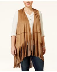 American Rag - Trendy Plus Size Faux-suede Fringe Vest, Only At Macy's - Lyst