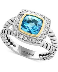 Effy Collection - Blue Topaz (1-3/4 Ct. T.w.) & Diamond (1/8 Ct. T.w.) Ring In Sterling Silver & 18k Gold - Lyst