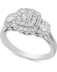 Macy's - Diamond Triple Halo Engagement Ring (1 Ct. T.w.) In 14k White Gold - Lyst