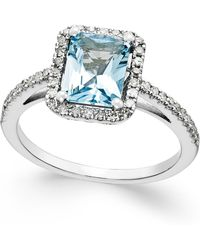 Macy's - Aquamarine (1-1/5 Ct. T.w.) And Diamond (1/4 Ct. T.w.) Ring In 14k White Gold - Lyst