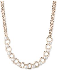 DKNY - Hematite-tone Imitation Pearl Collar Necklace, Created For Macy's - Lyst