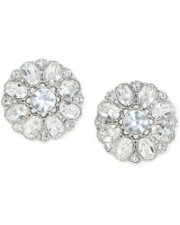 Carolee - Silver-tone Crystal Button Clip-on Earrings - Lyst
