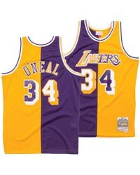 3f5d1c8cddf Mitchell   Ness - Shaquille O neal Los Angeles Lakers Split Swingman Jersey  - Lyst