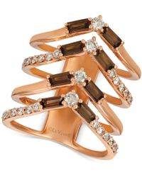 Le Vian - Baguette Frenzytm Smoky Quartz (9/10 Ct. T.w.) & Nudetm Diamond (5/8 Ct. T.w.) Chevron Statement Ring In 14k Rose Gold - Lyst