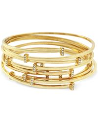 Vince Camuto - Set Of 7 Gold-tone Pave Bar Bangle Bracelets - Lyst