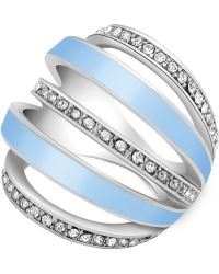 Guess - Crystal Pavé Five Band Curved Statement Ring - Lyst