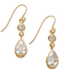 Macy's - Cubic Zirconia Double Drop Earrings In 14k Yellow, White Or Rose Gold - Lyst