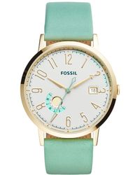 Fossil - Women's Vintage Muse Green Leather Strap Watch 40mm Es3990 - Lyst