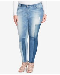 Jessica Simpson - Trendy Plus Size Kiss Me Patched Super-skinny Jeans - Lyst
