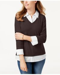 Karen Scott - Cotton Layered-look Top, Created For Macy's - Lyst