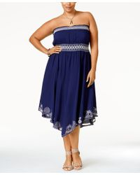 American Rag - Plus Size Strapless Embroidered Dress, Only At Macy's - Lyst