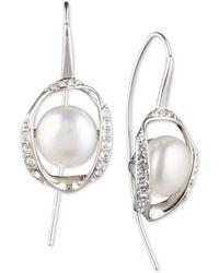 Carolee - Silver-tone Crystal & Freshwater Pearl (10mm) Drop Earrings - Lyst