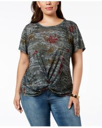 Style & Co. - Plus Size Printed Twist-front Top, Created For Macy's - Lyst