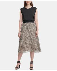 1c752d1a2 DKNY Pleated Metallic Midi Skirt in Black - Lyst