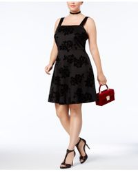 Soprano - Trendy Plus Size Flocked Fit & Flare Dress - Lyst