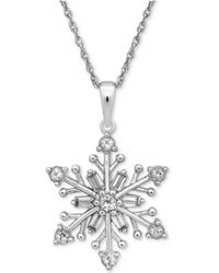 Macy's - Cubic Zirconia Snowflake Pendant Necklace In Sterling Silver - Lyst
