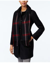 London Fog - Petite Long Peacoat With Scarf - Lyst