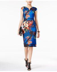 Eci - Printed Sheath Dress - Lyst