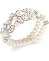 Carolee - Silver-tone Imitation Pearl And Crystal Double-row Stretch Bracelet - Lyst