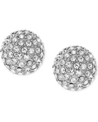 Vince Camuto - Silver-tone Pave Ball And Metallic Pyramid Reversible Front And Back Earrings - Lyst