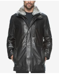 Marc New York - Men's Middlebury Leather Car Coat With Rabbit Fur Collar - Lyst