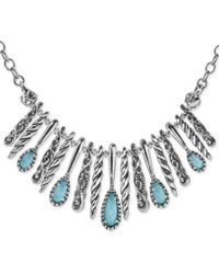 "Carolyn Pollack - Turquoise/rock Crystal Doublet Statement Necklace In Sterling Silver, 17"" + 3"" Extender - Lyst"
