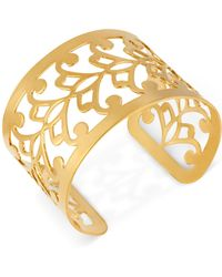 Hint Of Gold - 14k Gold-plated Filigree Cuff Bracelet - Lyst