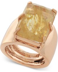 Vince Camuto - Rose Gold-tone Large Stone Adjustable Ring - Lyst