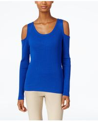 Eci - Ribbed-knit Cold-shoulder Jumper - Lyst