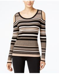 Eci - Striped Cold-shoulder Sweater - Lyst