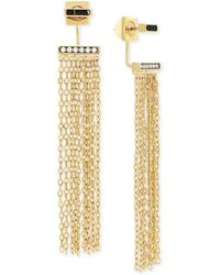 Vince Camuto - Gold-tone Front And Back Fringe Earrings - Lyst