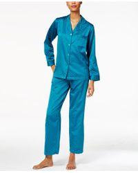 Miss Elaine | Jacquard Dot Brushed-back Satin Pyjama Set | Lyst