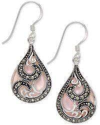 Macy's - Marcasite & Pink Shell Teardrop Drop Earrings In Fine Silver-plate - Lyst
