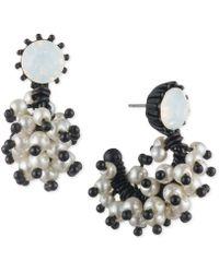 Marchesa - Black-tone White Stone & Imitation Pearl J-hoop Earrings - Lyst