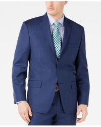 Michael Kors - Classic-fit Airsoft Stretch Dark Blue Mini Herringbone Suit Jacket - Lyst