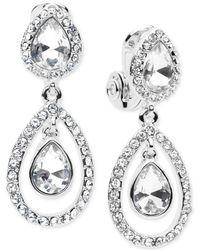 Anne Klein - Pear-shaped Double Drop Clip-on Earrings - Lyst