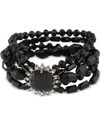Carolee - Hematite-tone Jet Stone And Beaded Multi-layer Bracelet - Lyst
