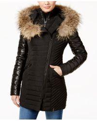 Rudsak - Connington Asiatic Raccoon-fur-trim Leather-sleeve Coat - Lyst