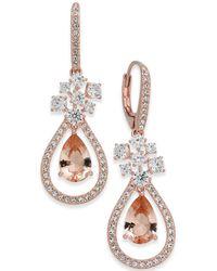 Danori - Rose Gold-tone Crystal Teardrop Orbital Drop Earrings - Lyst